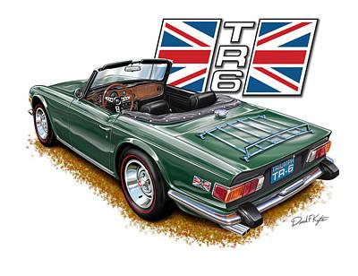 English Digital Art - Triumph Tr-6 British Racing Green by David Kyte