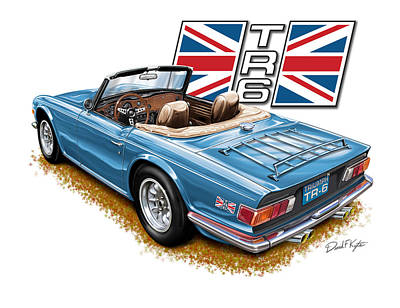 Triumph Tr-6 In French Blue Print by David Kyte