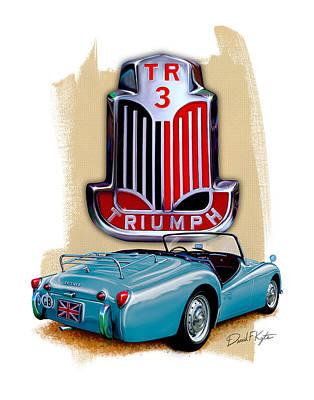 Tr Digital Art - Triumph Tr_3 Sports Car In Blue by David Kyte