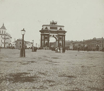 Moscow Drawing - Triumphal Gate Of Alexander I In Moscow, Russia by Artokoloro