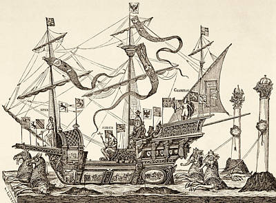 Seahorse Drawing - Triumphal Vessel by French School