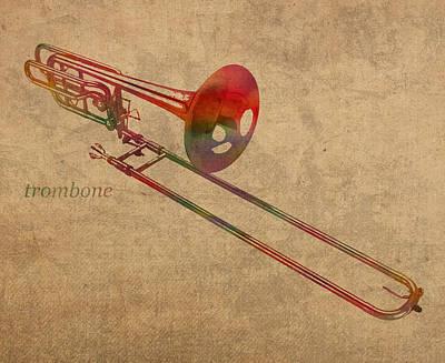 Trombone Mixed Media - Trombone Brass Instrument Watercolor Portrait On Worn Canvas by Design Turnpike