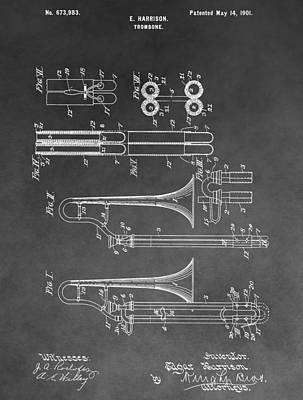 Trombone Mixed Media - Trombone Design by Dan Sproul