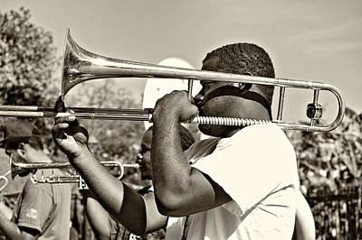 Jazz Photograph - Trombone Man Sepia by Steve Harrington
