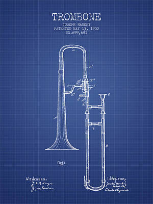 Trombone Patent From 1902 - Blueprint Print by Aged Pixel