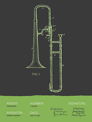 Trombone Drawing - Trombone Patent From 1902 - Modern Gray Green by Aged Pixel