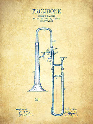 Trombone Drawing - Trombone Patent From 1902 - Vintage Paper by Aged Pixel