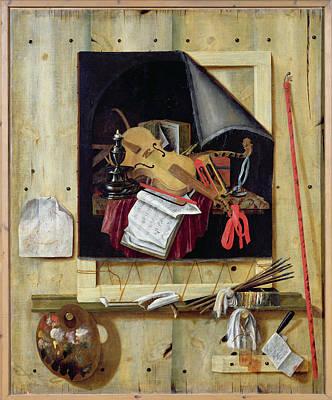 Palette Photograph - Trompe Loeil Still Life, 1665 Oil On Canvas by Cornelis Norbertus Gysbrechts
