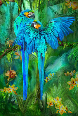 Tropic Spirits - Gold And Blue Macaws Print by Carol Cavalaris