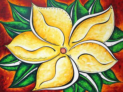 Tropical Abstract Pop Art Original Plumeria Flower Painting Pop Art Tropical Passion By Madart Print by Megan Duncanson