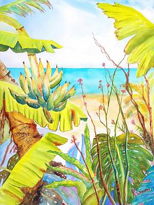 Fruit Tree Art Painting - Tropical Beach Garden by Carlin Blahnik