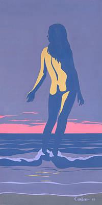 Tropical Exotic Nude Surf Sunset Tasteful Original Pop Art Nouveau 80s Painting Purple Pink Original by Walt Curlee