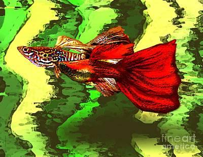 Fin Digital Art - Tropical Fish In Digital Art by Mario Perez