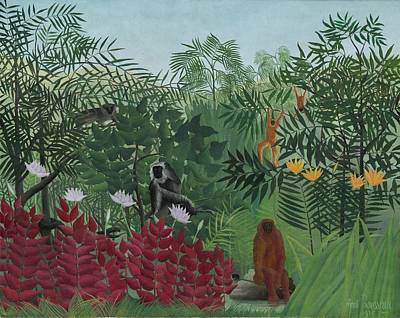Ape Painting - Tropical Forest With Monkeys by Henri J F Rousseau