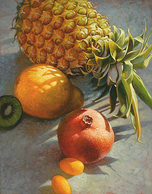 Red Fruit Painting - Tropical Fruit by Mia Tavonatti