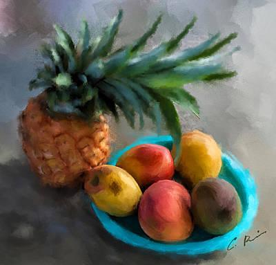 Mango Digital Art - Tropical Fruits by Charlie Roman