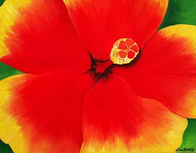 Tropical Hibiscus Painting Print by Lisa Bentley