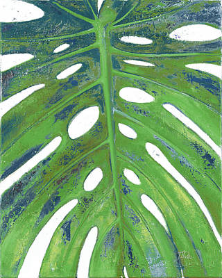 With Blue Painting - Tropical Leaf With Blue II by Patricia Pinto