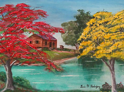 Flamboyan Tree Painting - Tropical Lifestyle by Luis F Rodriguez