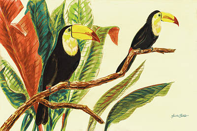 Toucan Painting - Tropical Toucans II by Linda Baliko