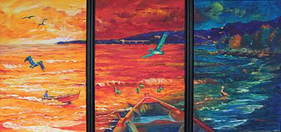 Tropical Trance Triptych Print by Estela Robles Galiano