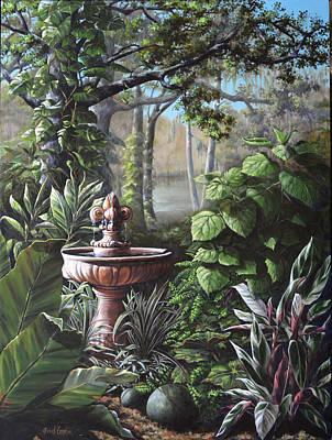 Florida Tropical Garden Print by Joan Garcia