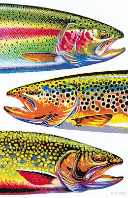 Trout Painting - Trout Abstraction by JQ Licensing