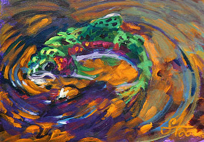 Abstract Wildlife Painting - Trout And Fly by Savlen Art