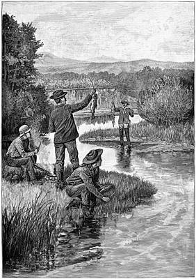 Trout Fishing, 1886 Print by Granger