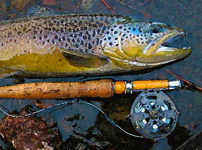 Trout On Fly Print by Lina Tricocci