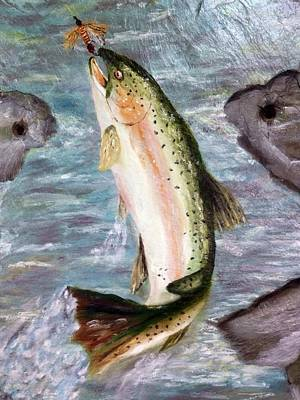 Trout On Slate Tile Original by Gino Didio