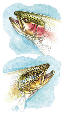 Flyfishing Painting - Trout Study by JQ Licensing