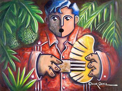 Flamboyan Tree Painting - Trovador De La Pana by Oscar Ortiz