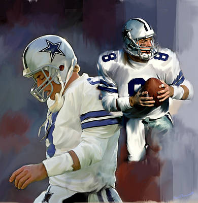 Dallas Drawing - Troy Aikman  Aikam by Iconic Images Art Gallery David Pucciarelli