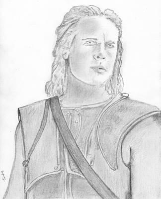 Orlando Bloom Drawing - Troy Brad Pitt by Dan Twyman
