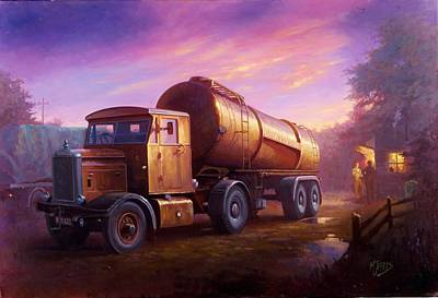 Commission A Painting - Truckstop 1956 by Mike  Jeffries