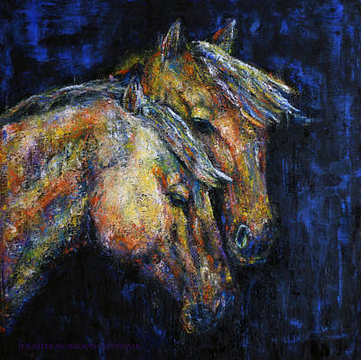 Abstract Painting - True Companions Contemporary Horse Painting by Jennifer Godshalk