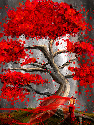 Reds Of Autumn Painting - True Love Waits - Red And Gray Art by Lourry Legarde