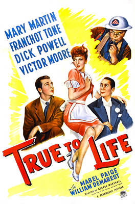 Mary Powell Photograph - True To Life, Us Poster, Victor Moore by Everett