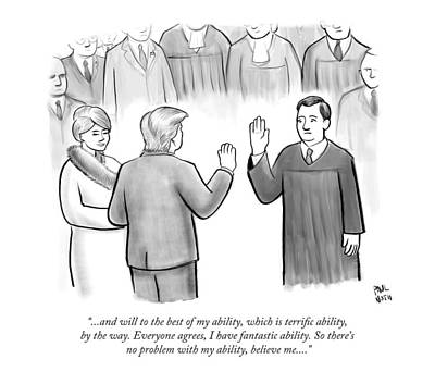 Swearing In Drawing - Trump Being Sworn Into Office by Paul Noth
