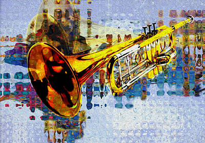 Jazz Digital Art - Trumpet by Jack Zulli
