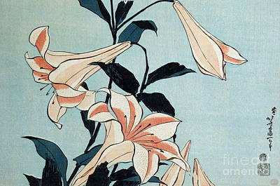 Lillies Painting - Trumpet Lilies by Hokusai