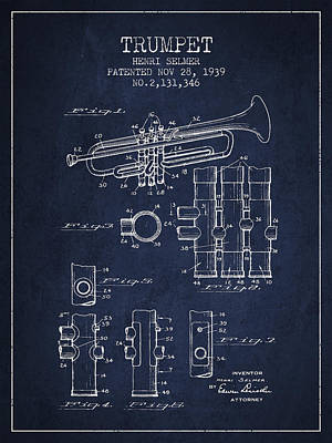 Trumpet Digital Art - Trumpet Patent From 1939 - Blue by Aged Pixel