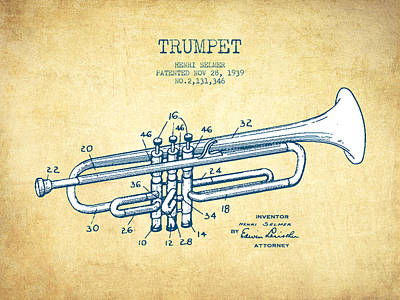 Trumpet Digital Art - Trumpet Patent From 1939 - Vintage Paper by Aged Pixel