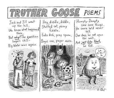 Geese Drawing - Truther Goose Poems -- A Triptych Of Mother Goose by Roz Chast