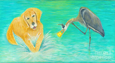 Dog Playing Ball Painting - Try Again by Robin Grace