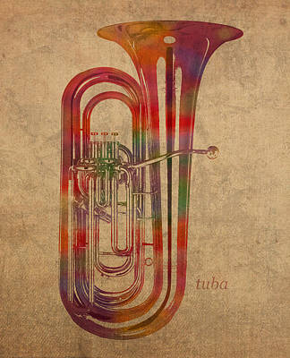 Tuba Mixed Media - Tuba Brass Instrument Watercolor Portrait On Worn Canvas by Design Turnpike