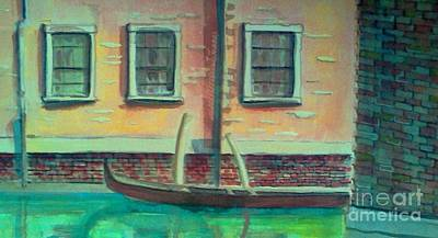 Tucked Into The Canal Print by Rita Brown