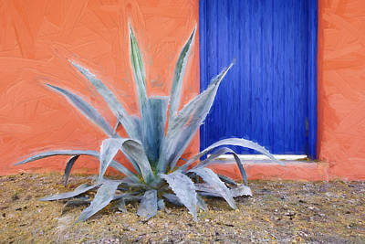 Southwest Mixed Media - Tucson Barrio Blue Door Painterly Effect by Carol Leigh