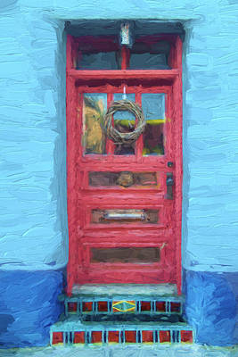 Detail Mixed Media - Tucson Barrio Red Door Painterly Effect by Carol Leigh